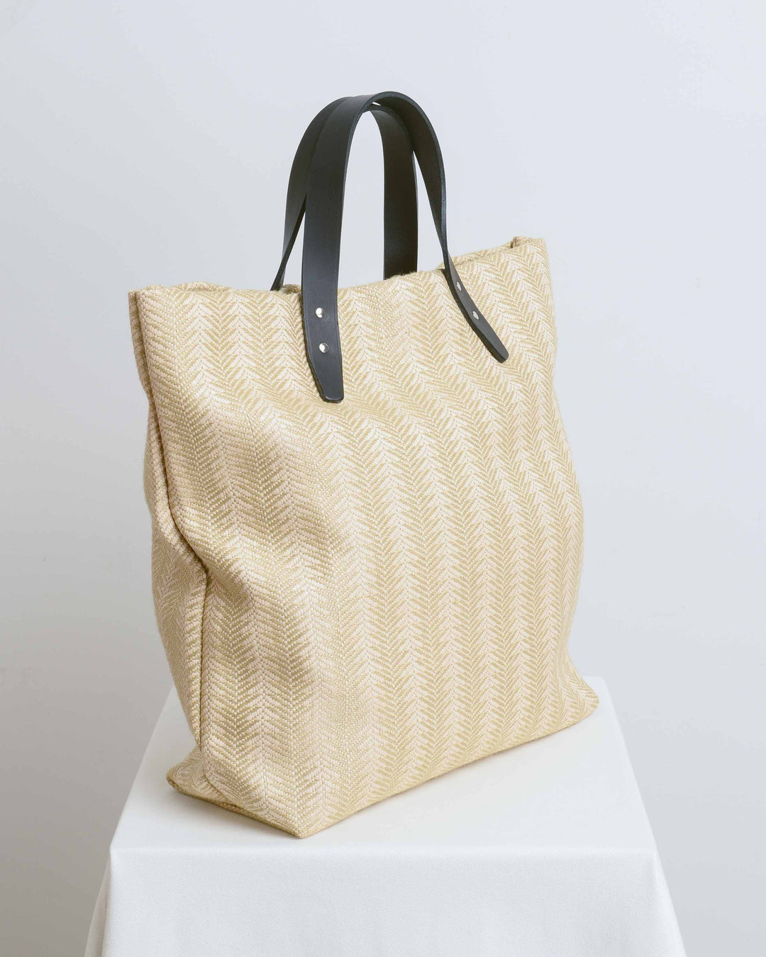 Linen Jute Tote with Black Strap