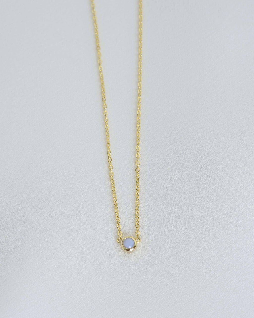 Gold Tiny Opal Stone Necklace