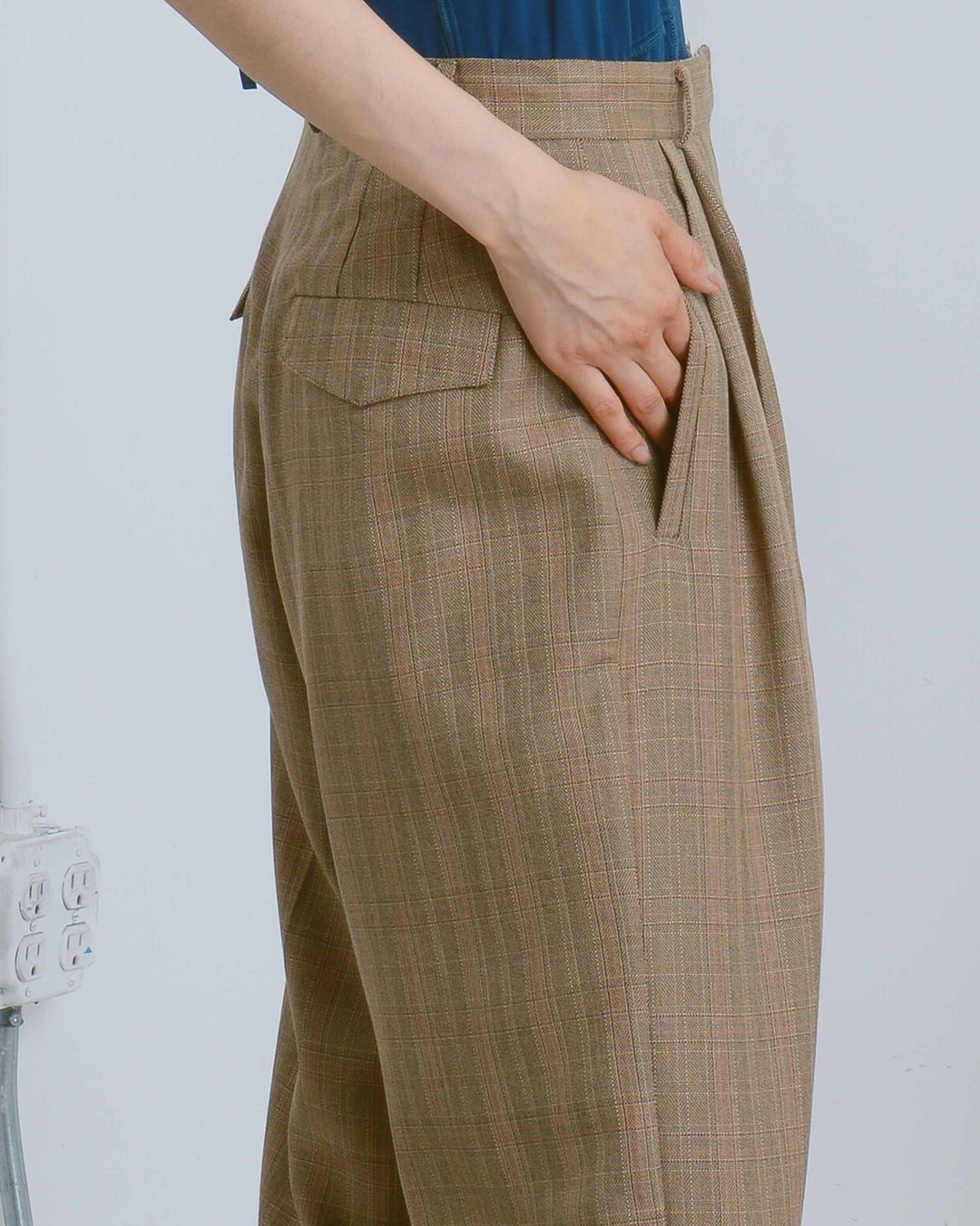 Wide Leg Plaid Trousers
