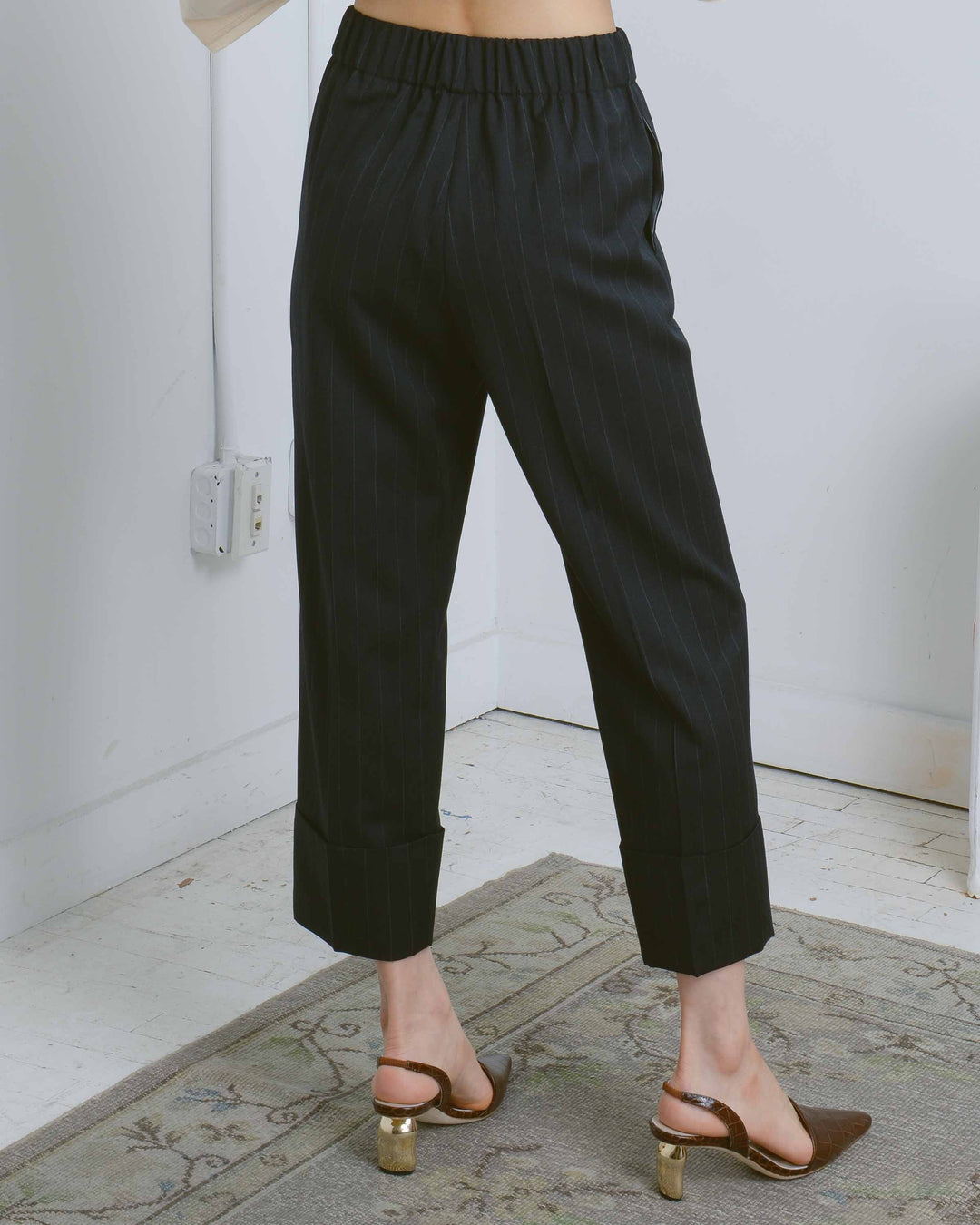 Charcoal Stripe Em Pull-On Pant