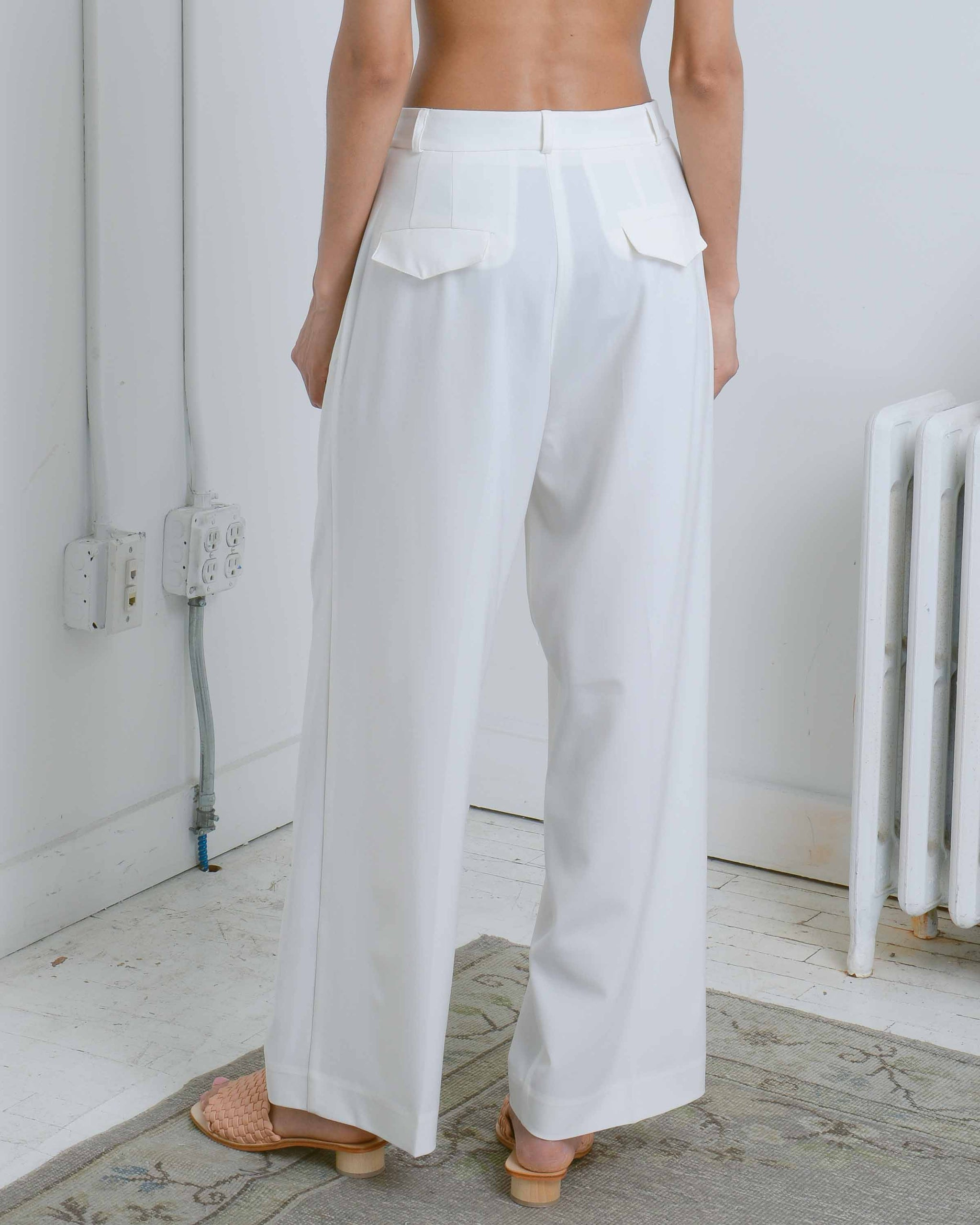 Ivory Wide Leg Trousers