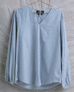 Navy Stripe Tiny Pocket Top