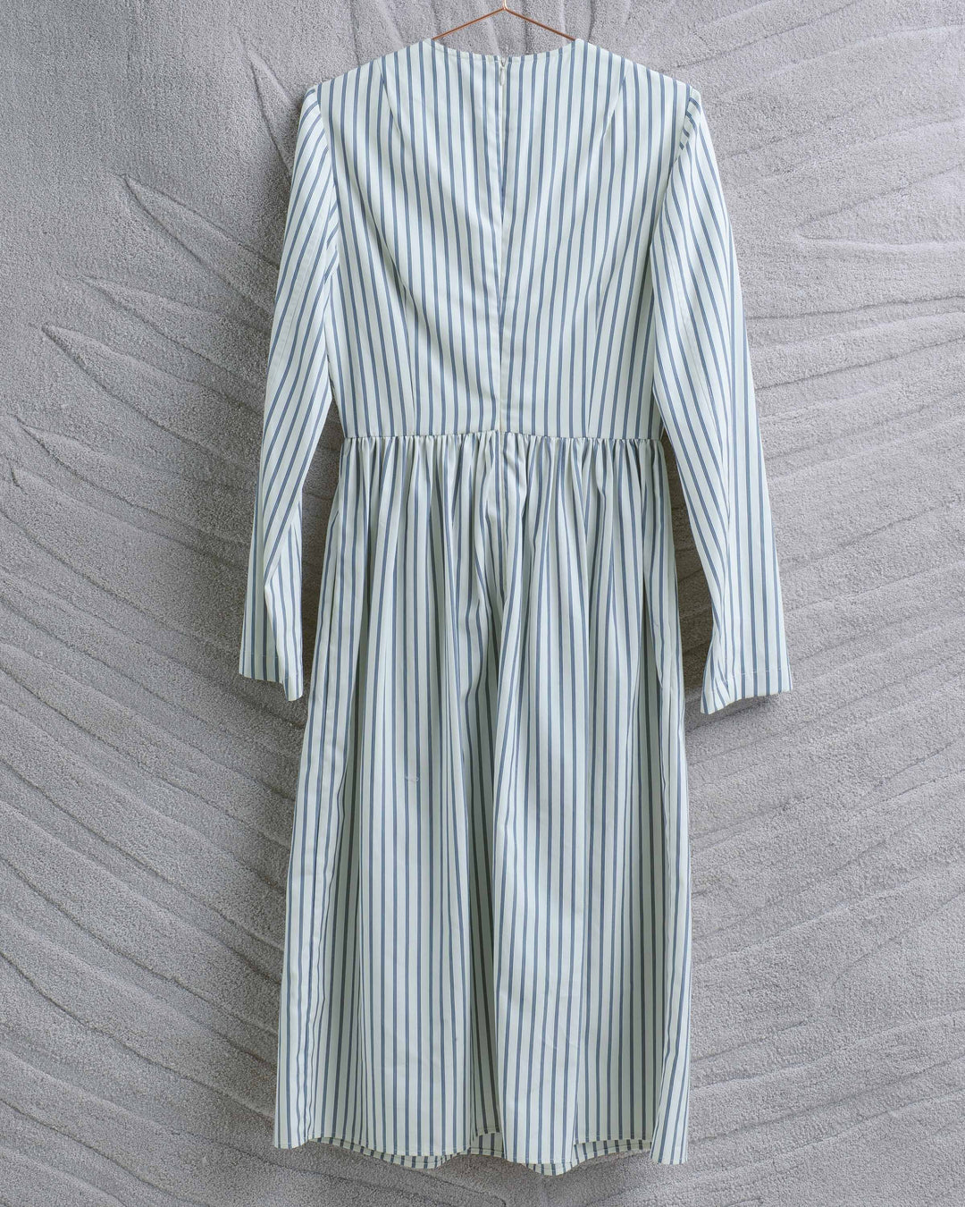 White Blue Stripe Fitted Waist Dress