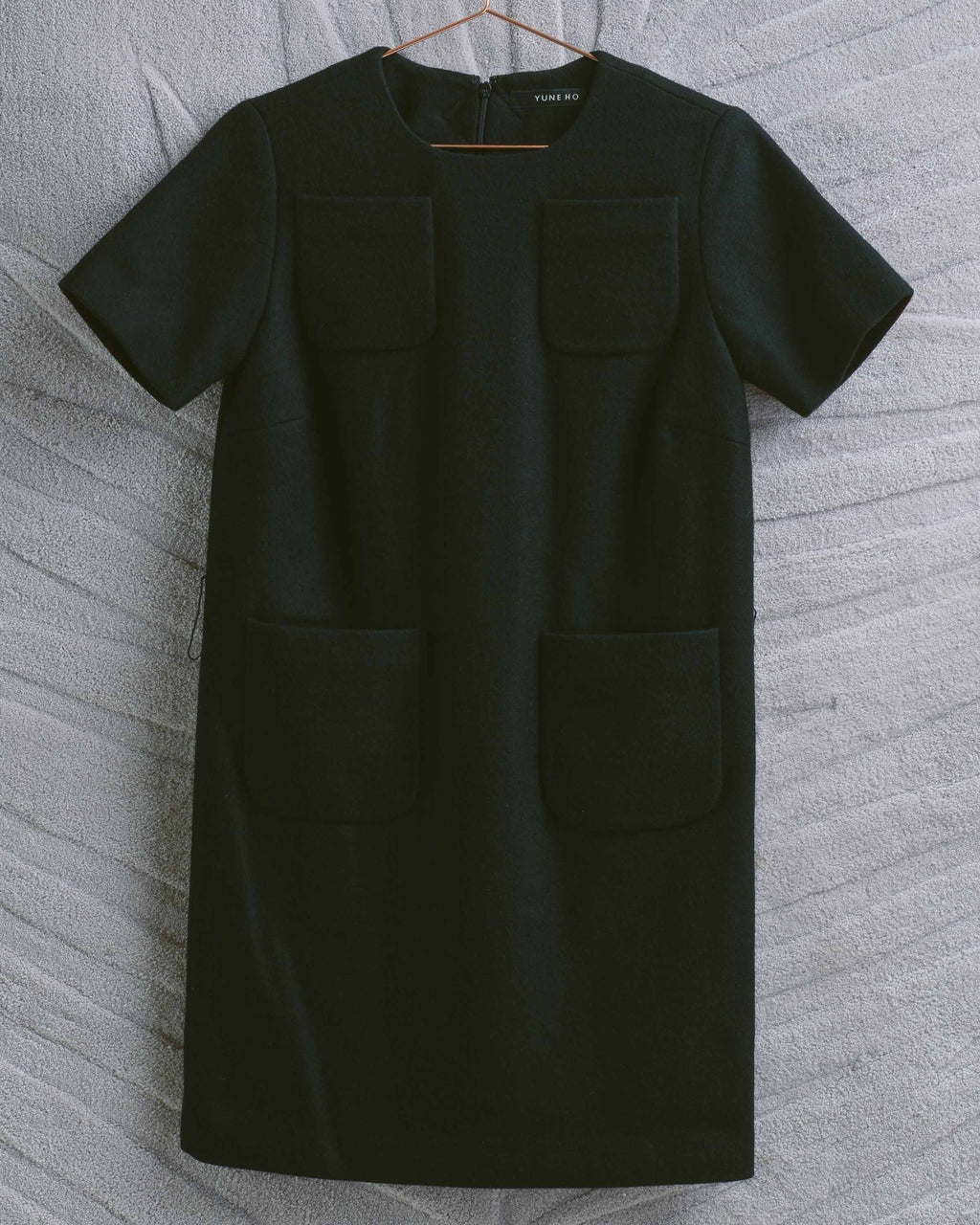 Black Textured Lined Multi Pocket Shift Dress