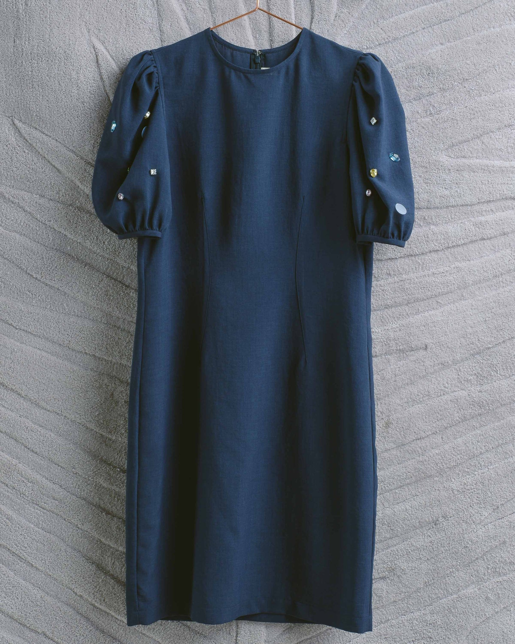Navy Poof Embellished Sleeve Dress
