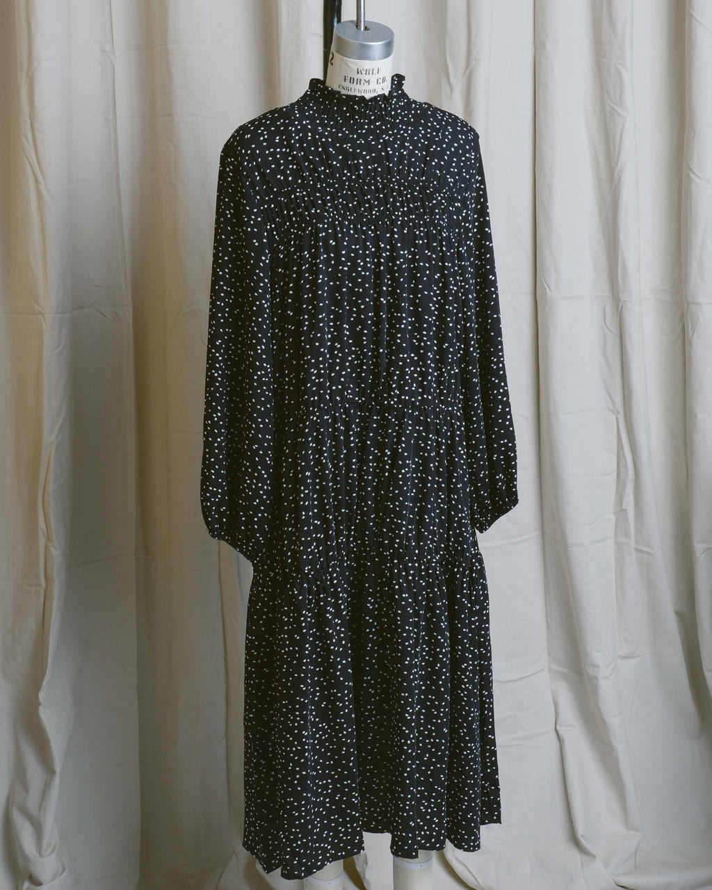 Polka Dot Shirring Dress