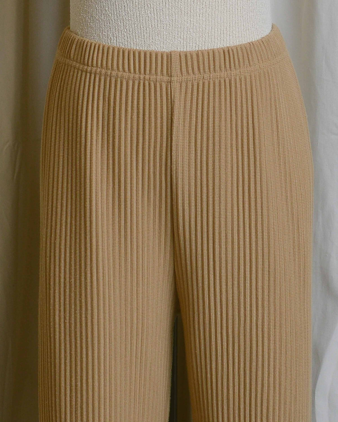 Camel Ribbed Knit Pants