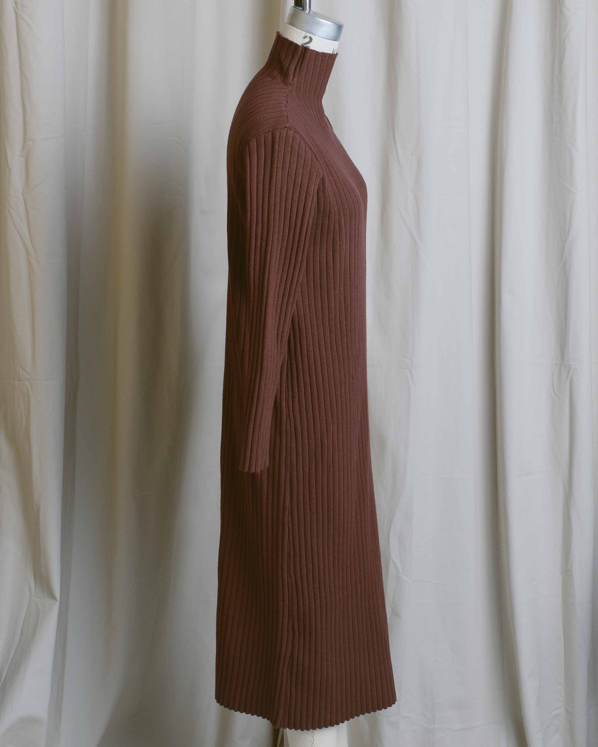 Brown Ribbed Dress