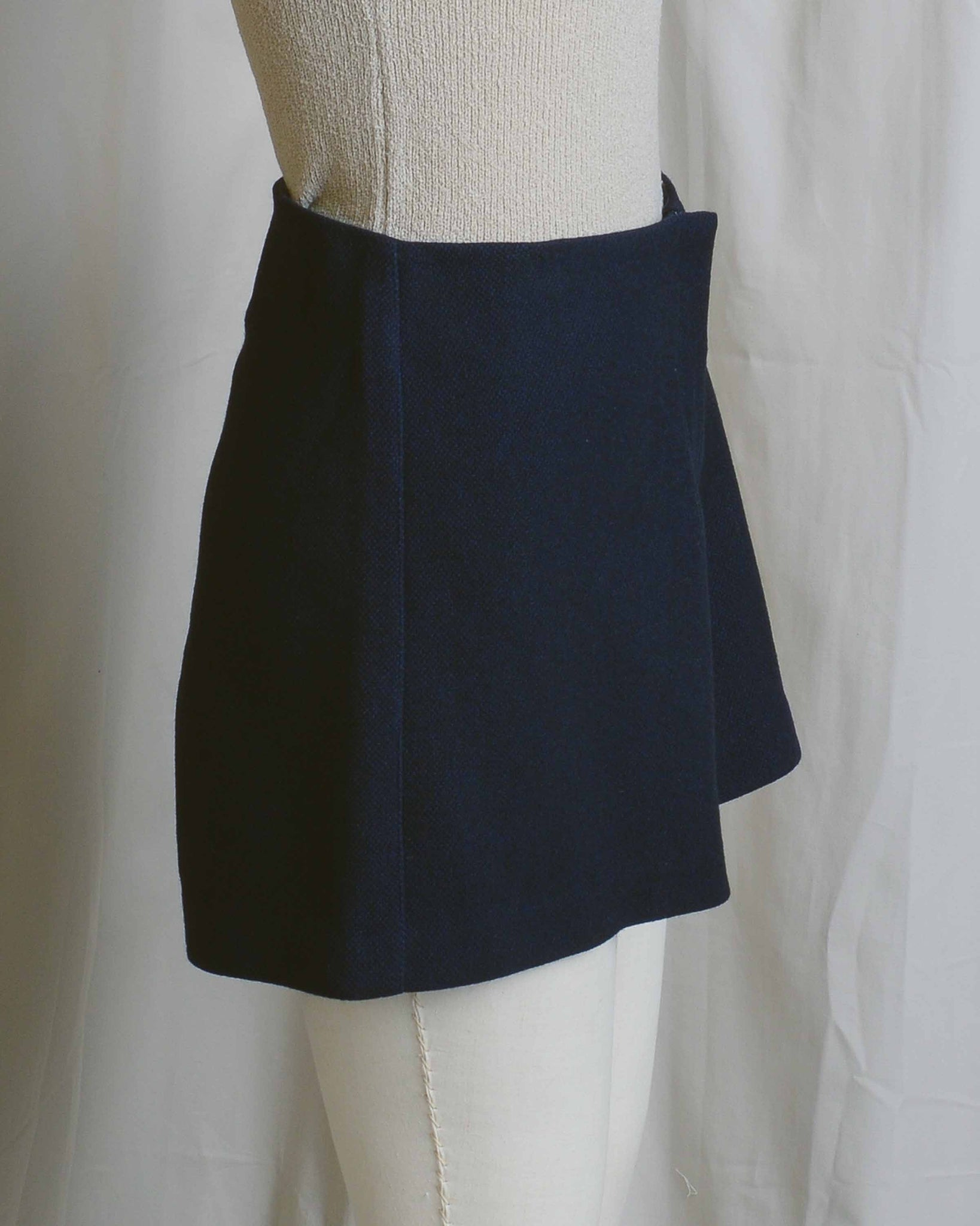 Navy Wool Fit and Flare Shorts
