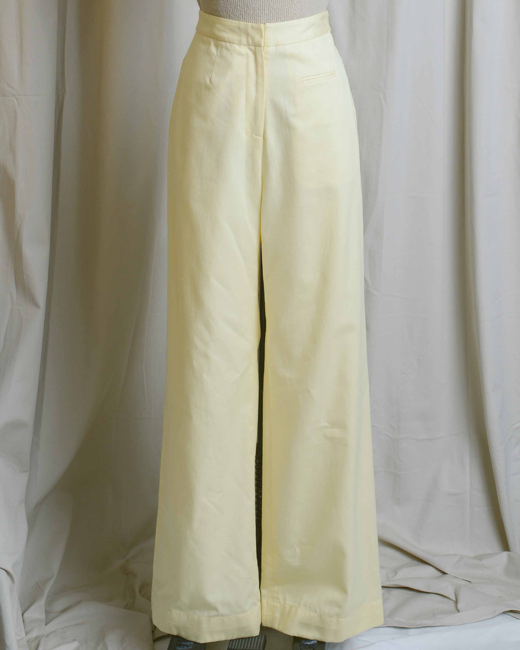Yellow Cotton High Waist Pants