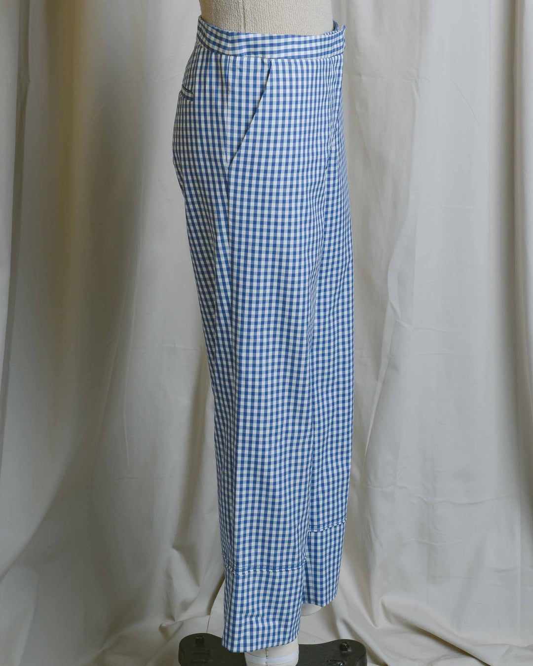 Blue Gingham Cotton Pants