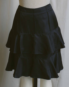 Black Satin Ruffle Tiered Skirt