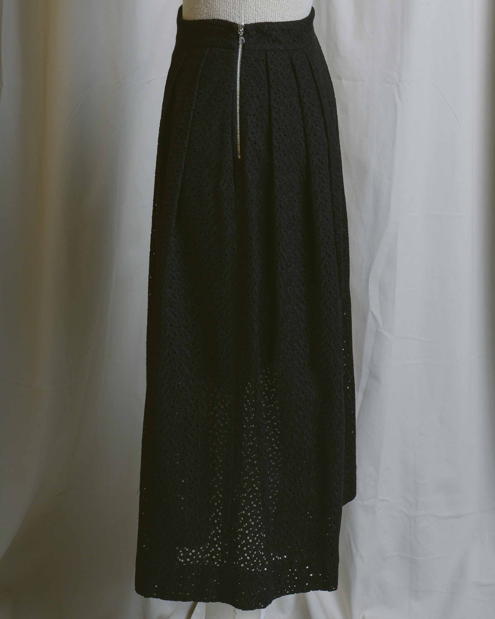 Black Cotton Lace Eyelet Culottes