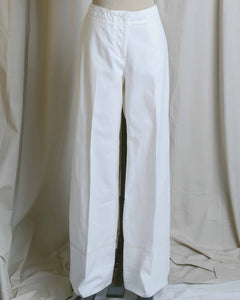White Cotton High Waist Cuffed Pants