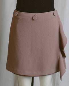Button Front Wrap Mini Skirt