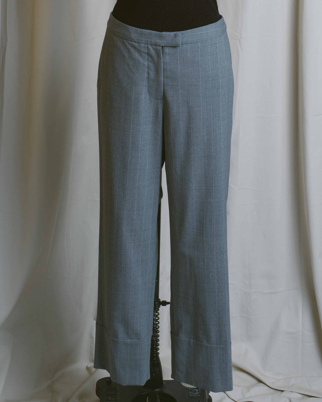 Grey Check Cuffed Suiting Pants