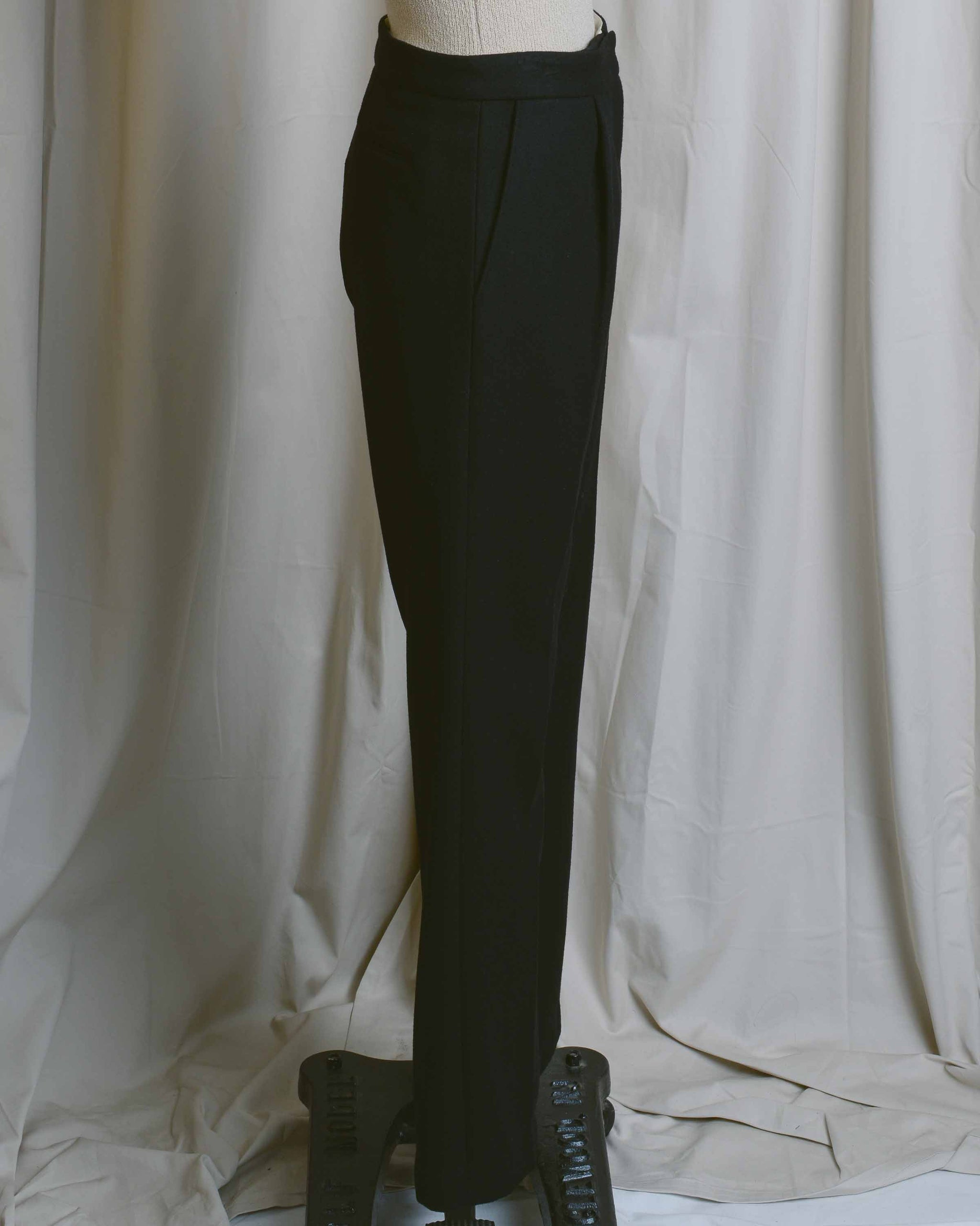 Black Wool Tailored Trousers