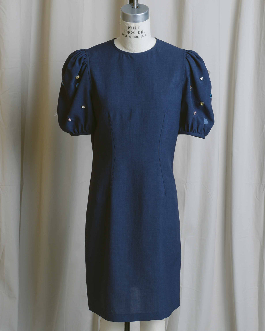 Navy Embellished Puff Sleeve Dress