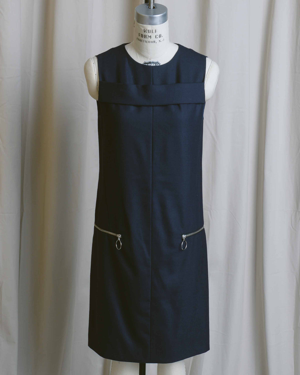 Navy Zip Pocket Shift Dress