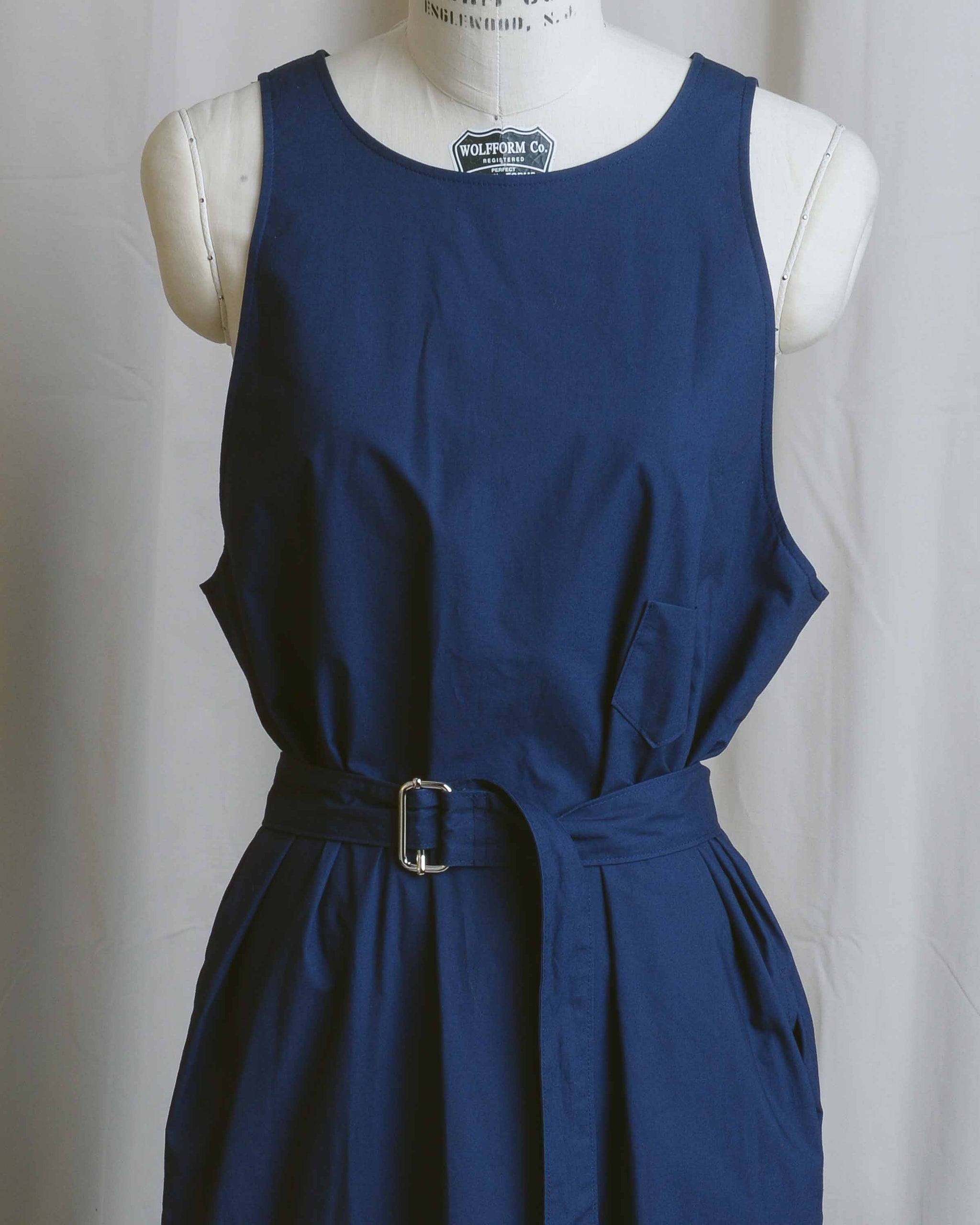 Cotton Open Back Belted Dress