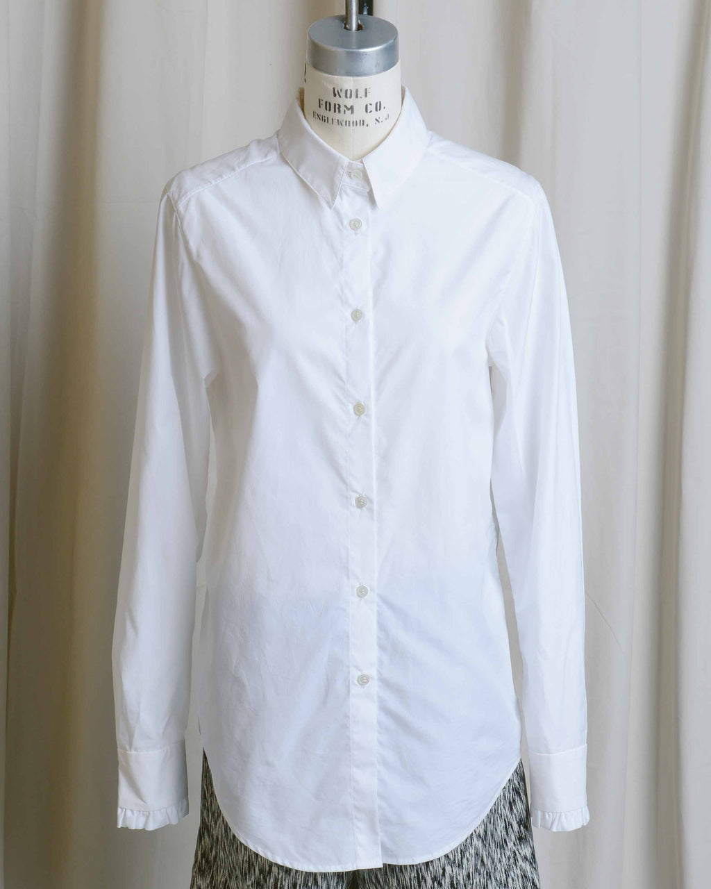 Ruffle Cuff White Button Down Shirt
