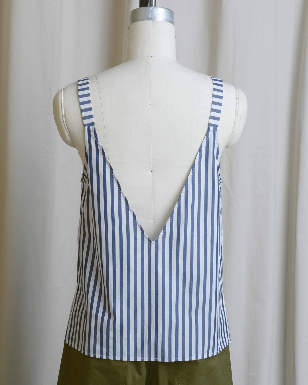 V-back Stripe Cotton Cami Tank