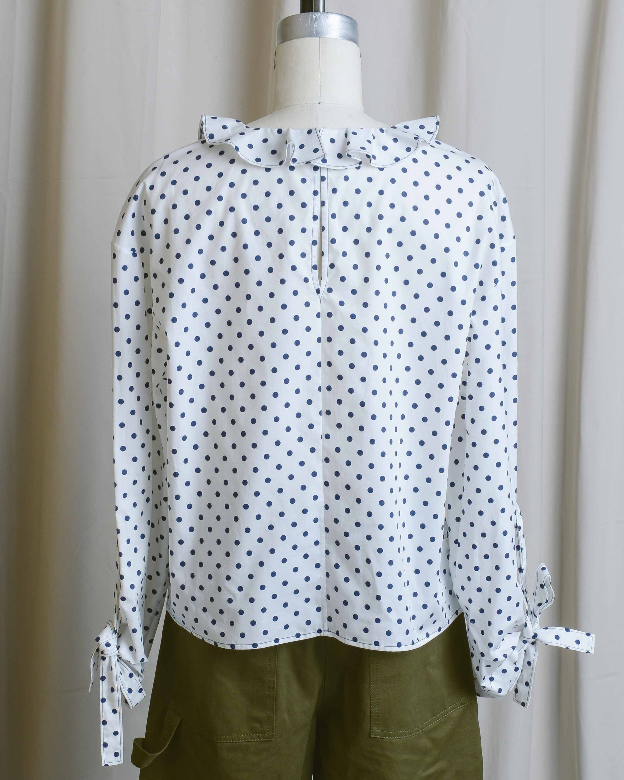 Polka Dot Ruffle Collar Blouse