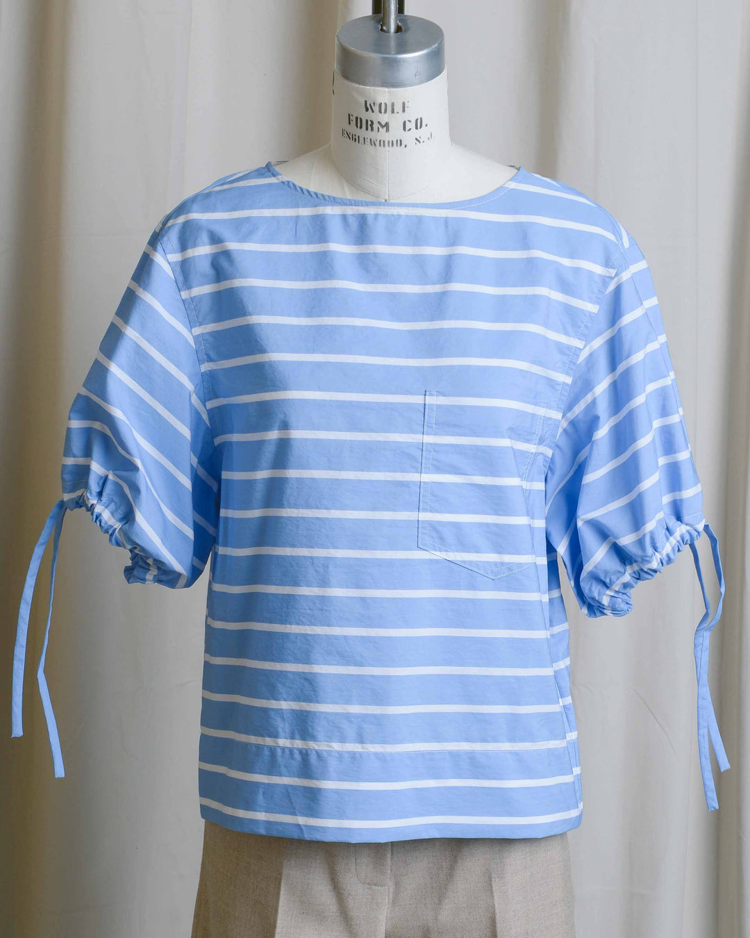 Cotton Stripe Tie Sleeve Tee