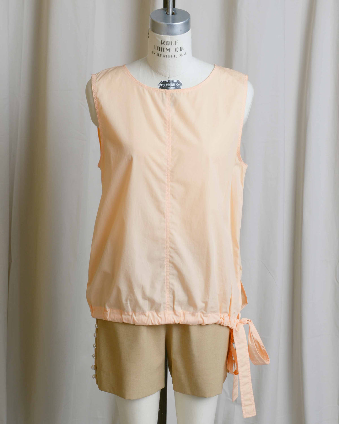 Tangerine Cotton Tie Blouse