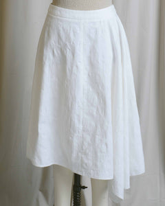 White Cotton Asymmetrical Skirt