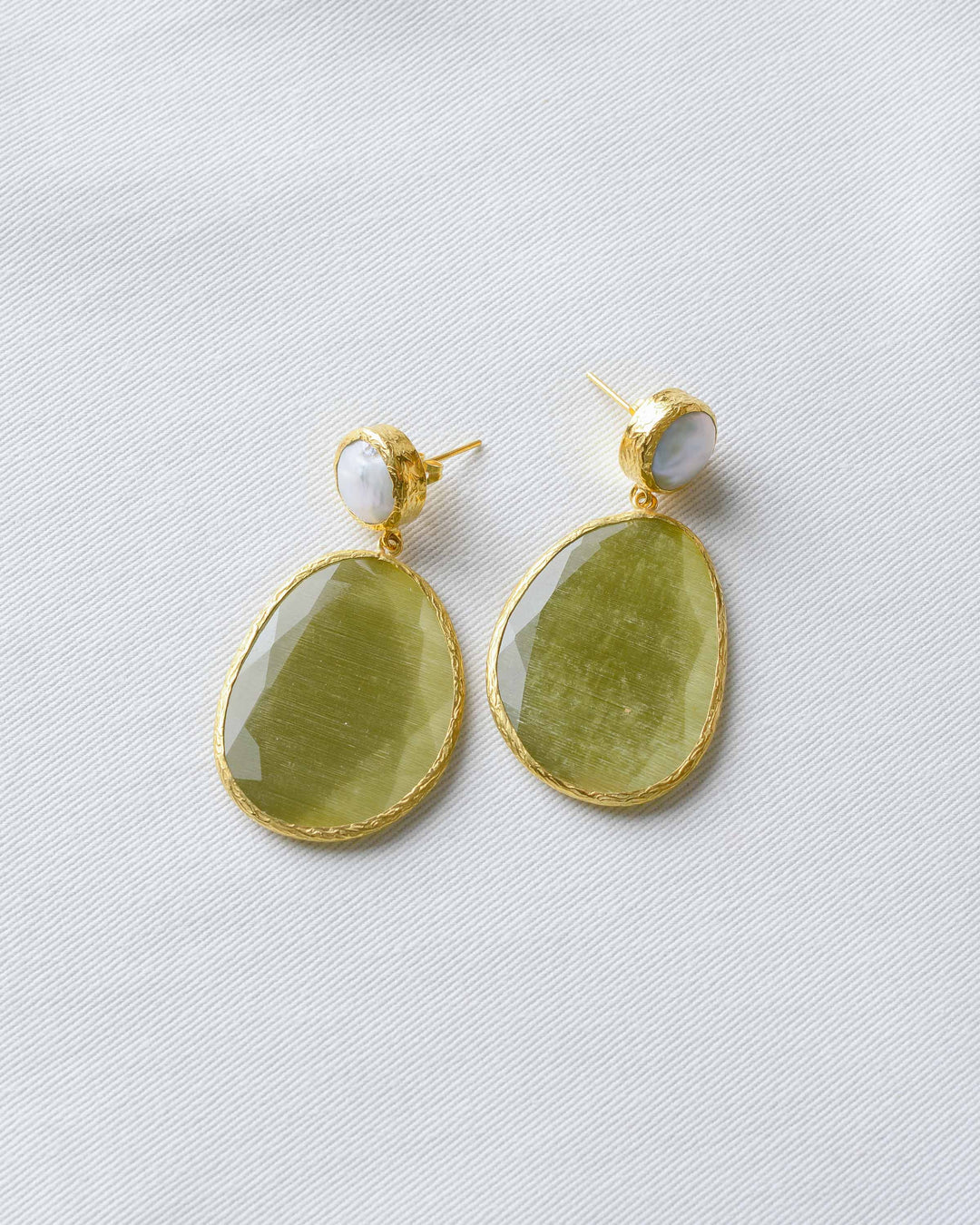 Olive Pearl Statement Earrings