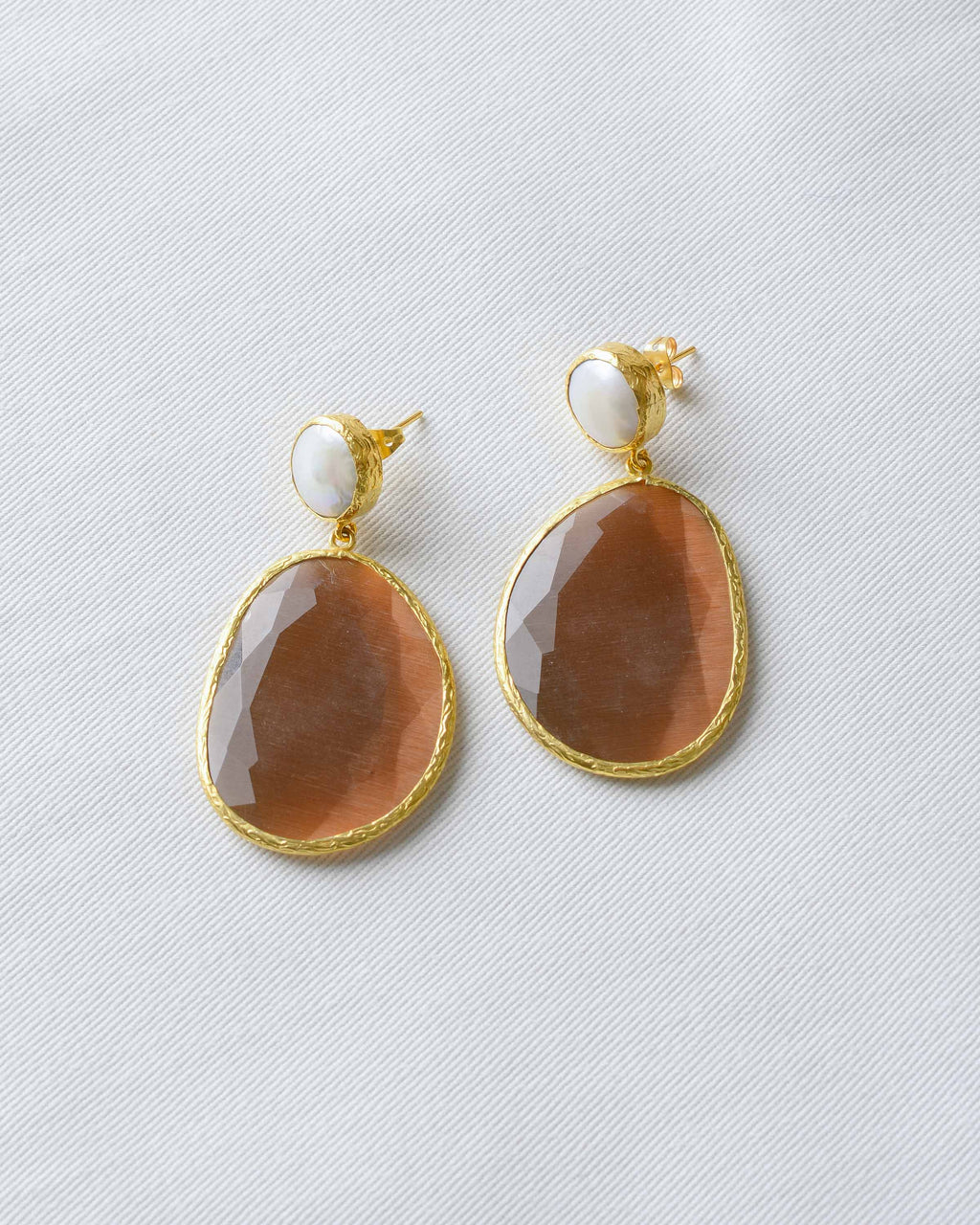 Brown Pearl Statement Earrings