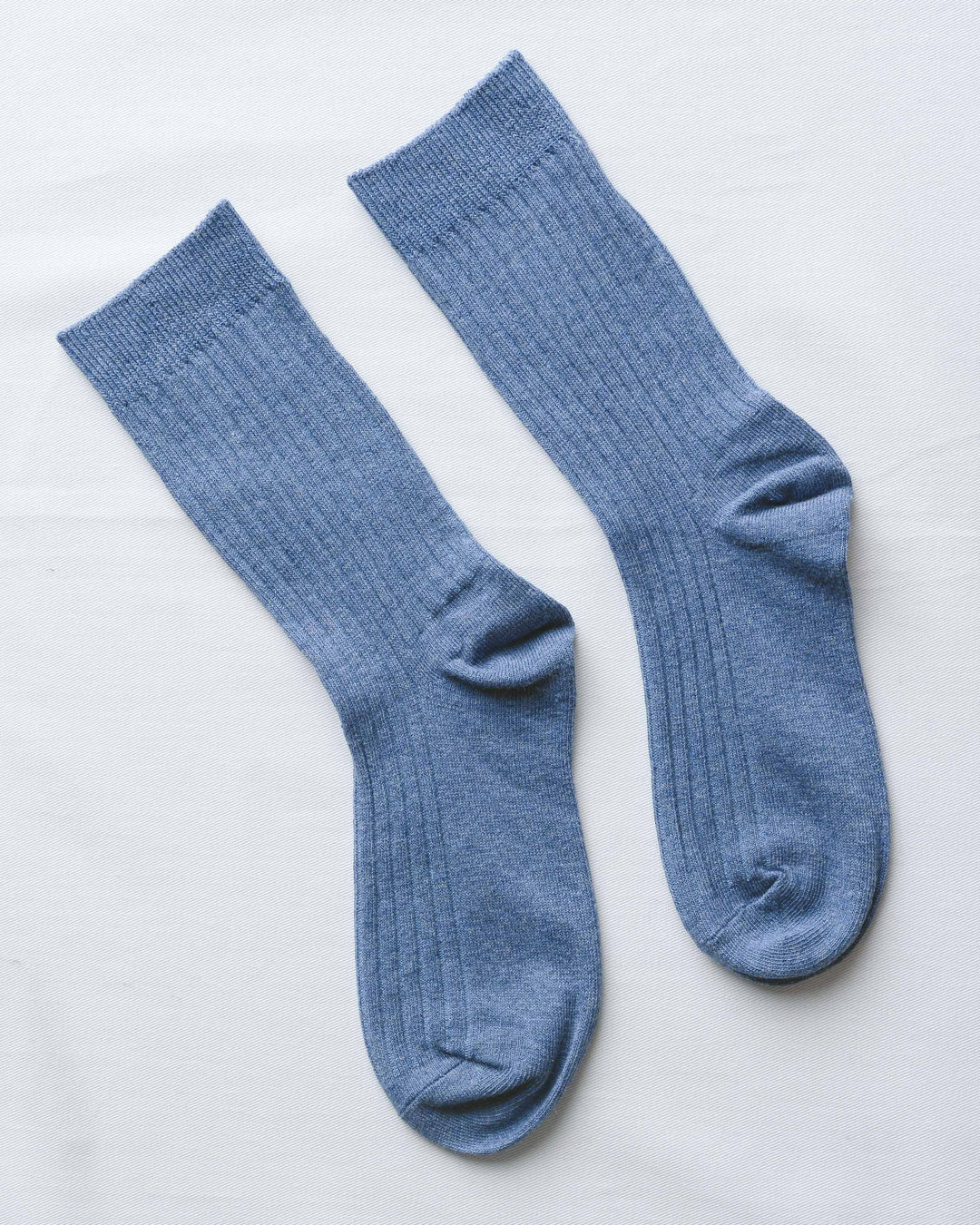 Blue Ribbed Socks