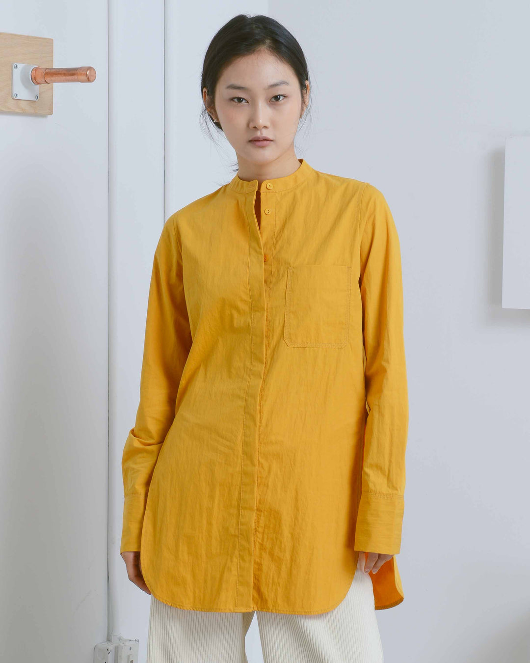 Mustard Patch Pocket Cotton Shirt