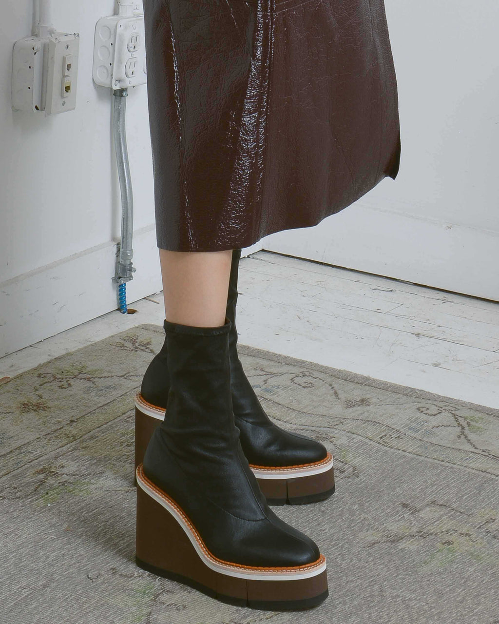 Black Britt Platform Wedge Boots