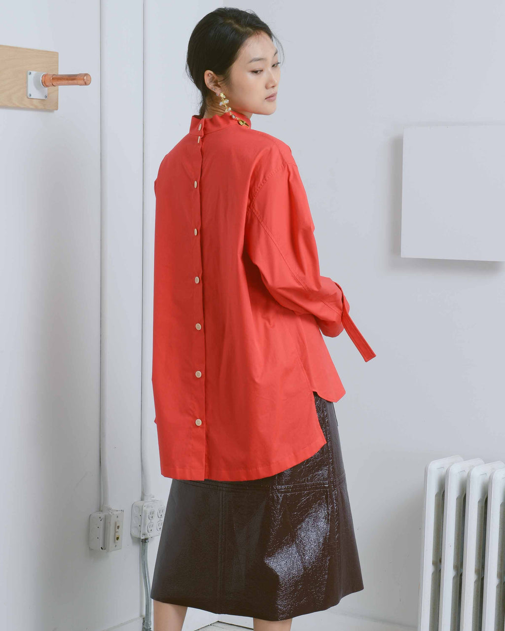 Red Josef High Neck Shirt
