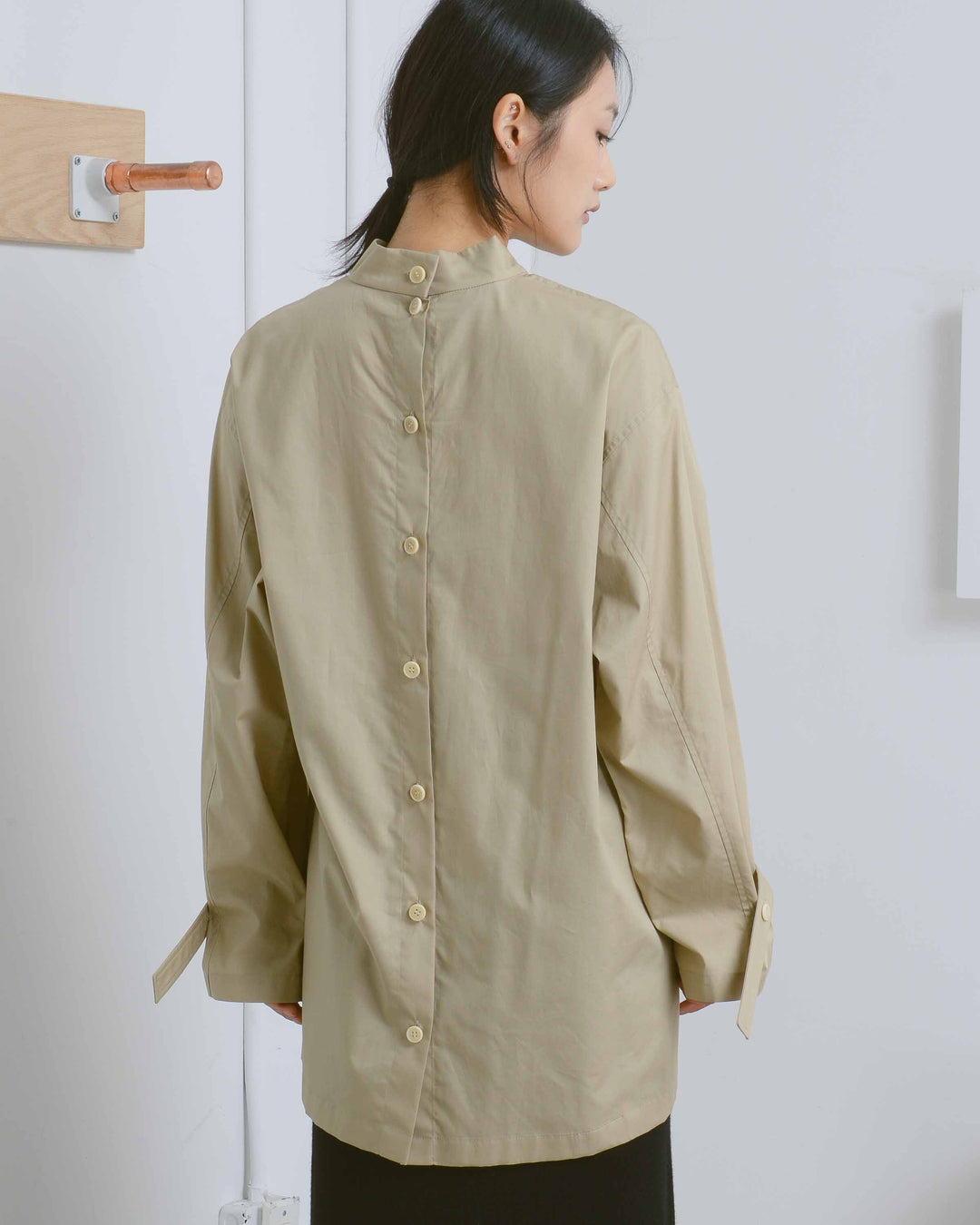 Khaki Josef High Neck Shirt