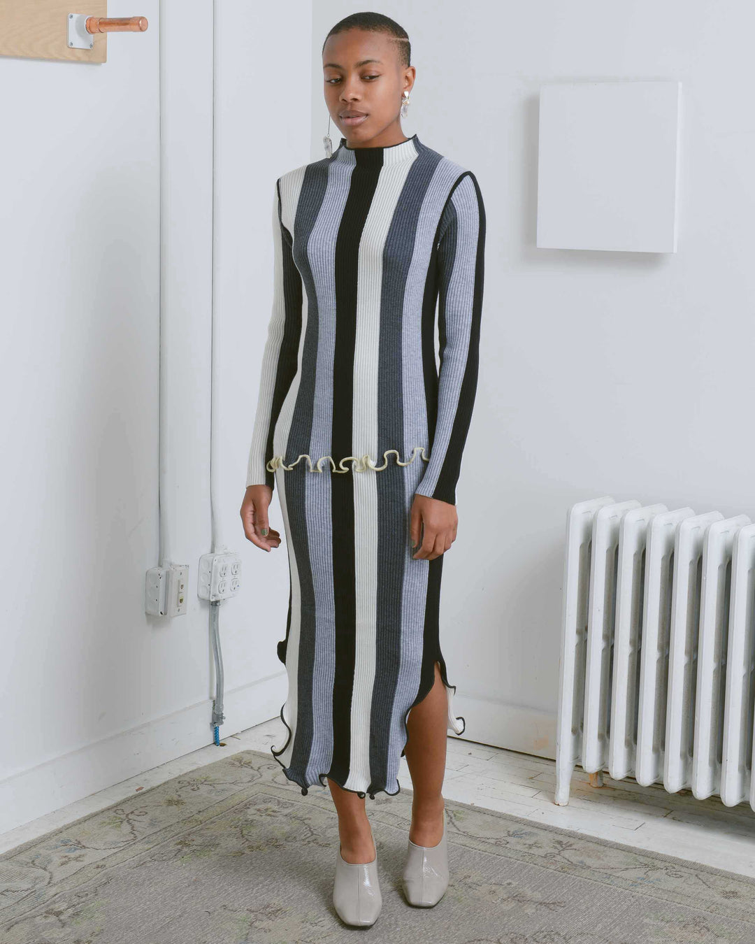 Grey Striped Rib Knit Dress