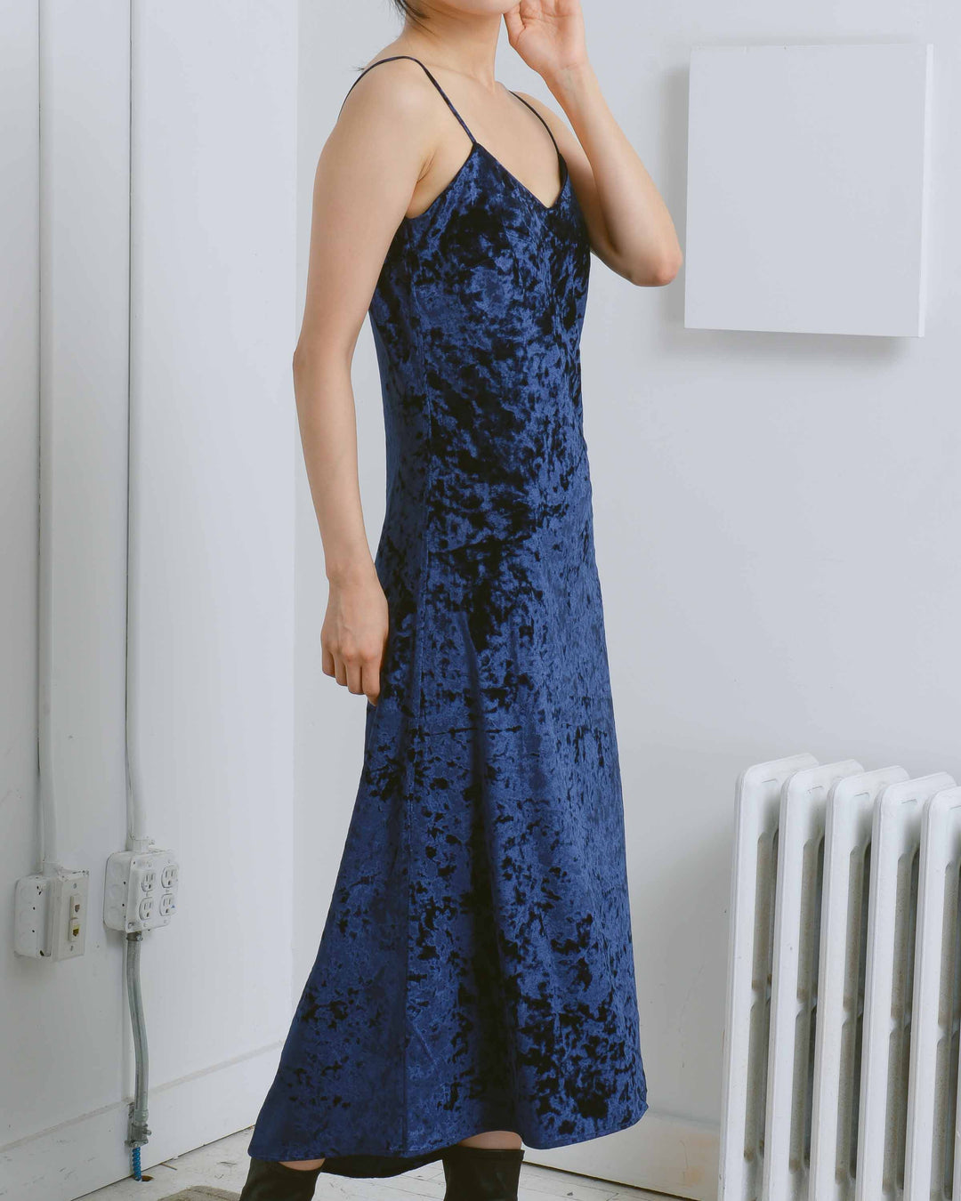 Navy Velvet Slip Dress