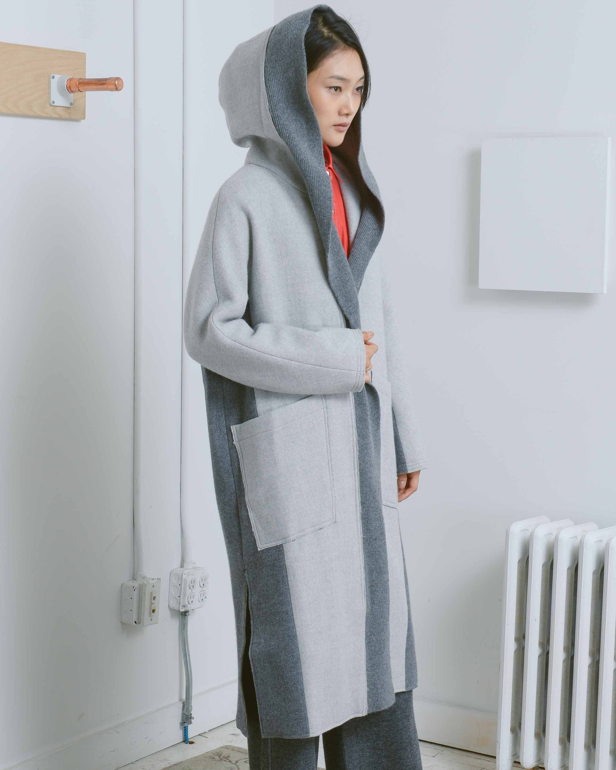 Grey Hooded Long Coat