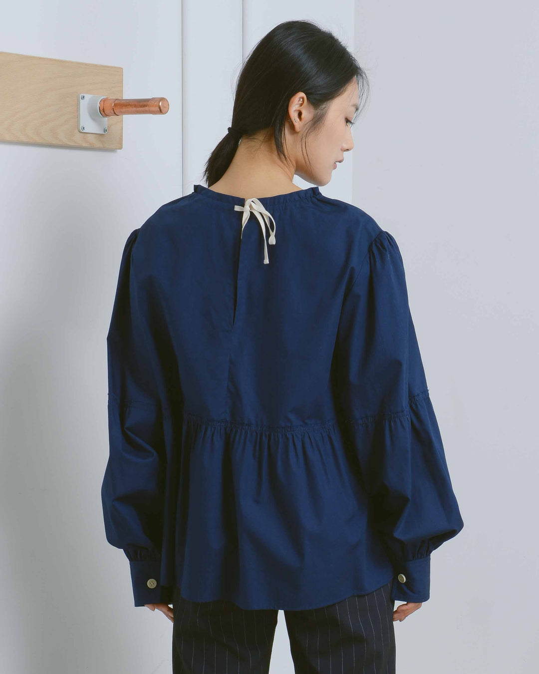 Navy Belle Cotton Poplin Top