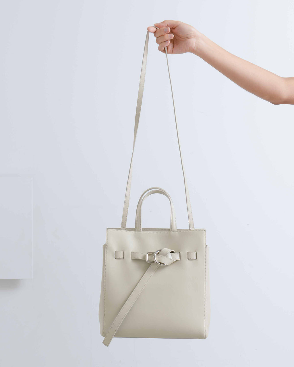 Cream Belted Mini Tote