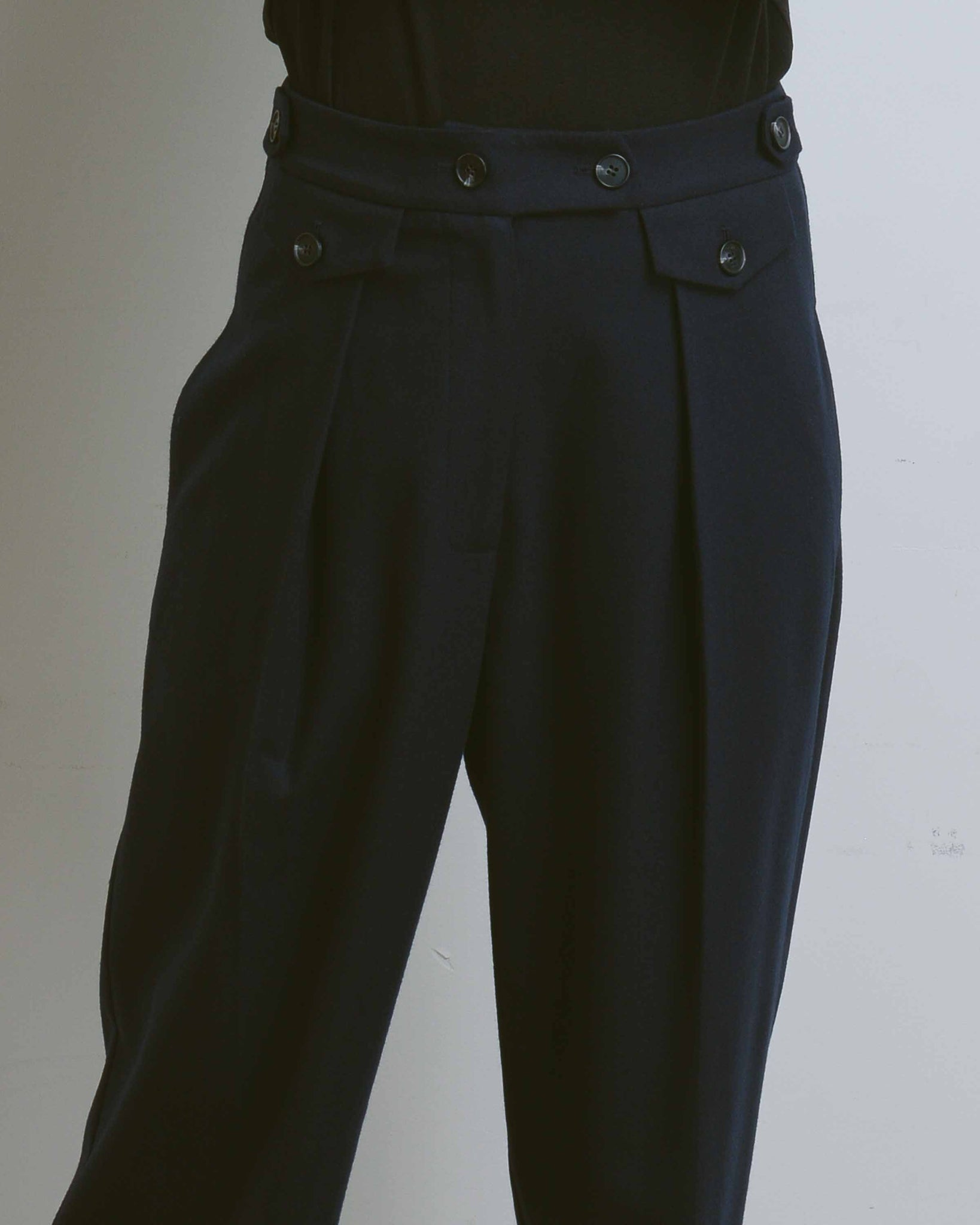 Navy Wool Blend Tailored Pleat Trousers