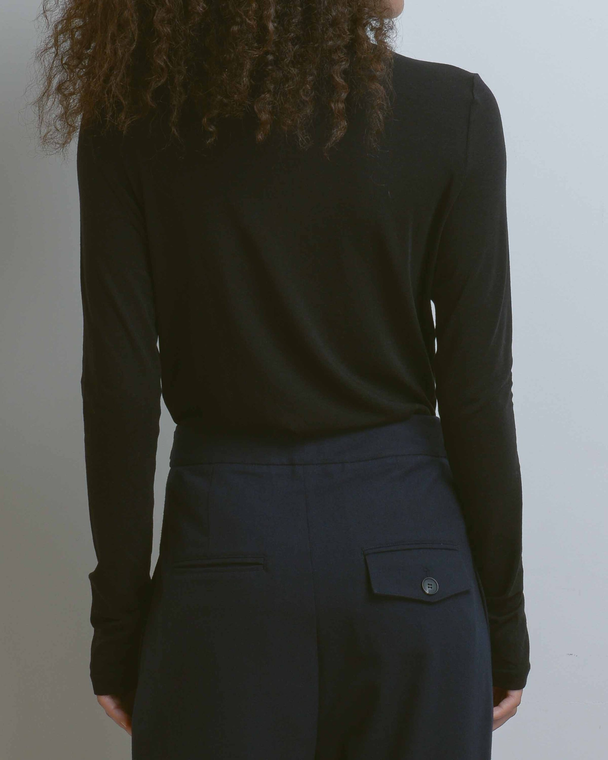 Black Roll Neck Jersey Top