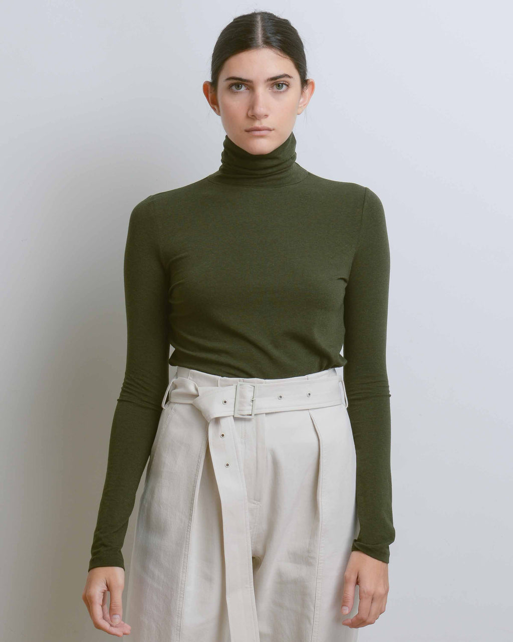 Olive Roll Neck Jersey Top
