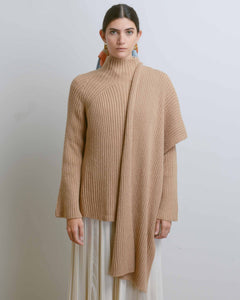 Camel Ribbed Knit Top with Scarf