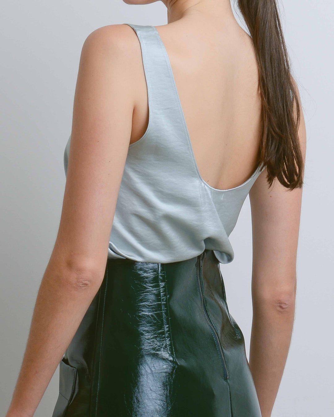 Mint Satin Wide Neck Tank