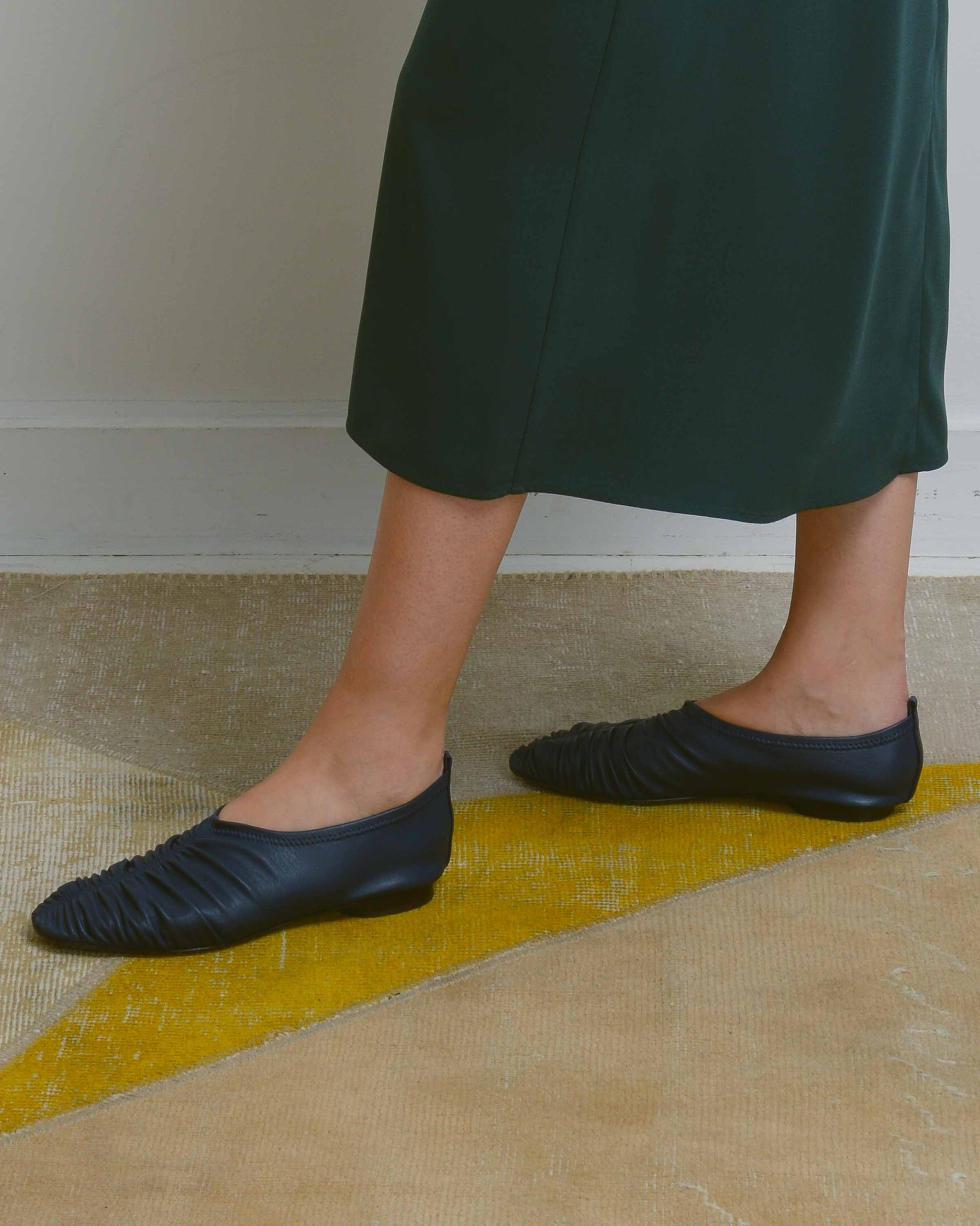 Navy Shirring Flat Shoes