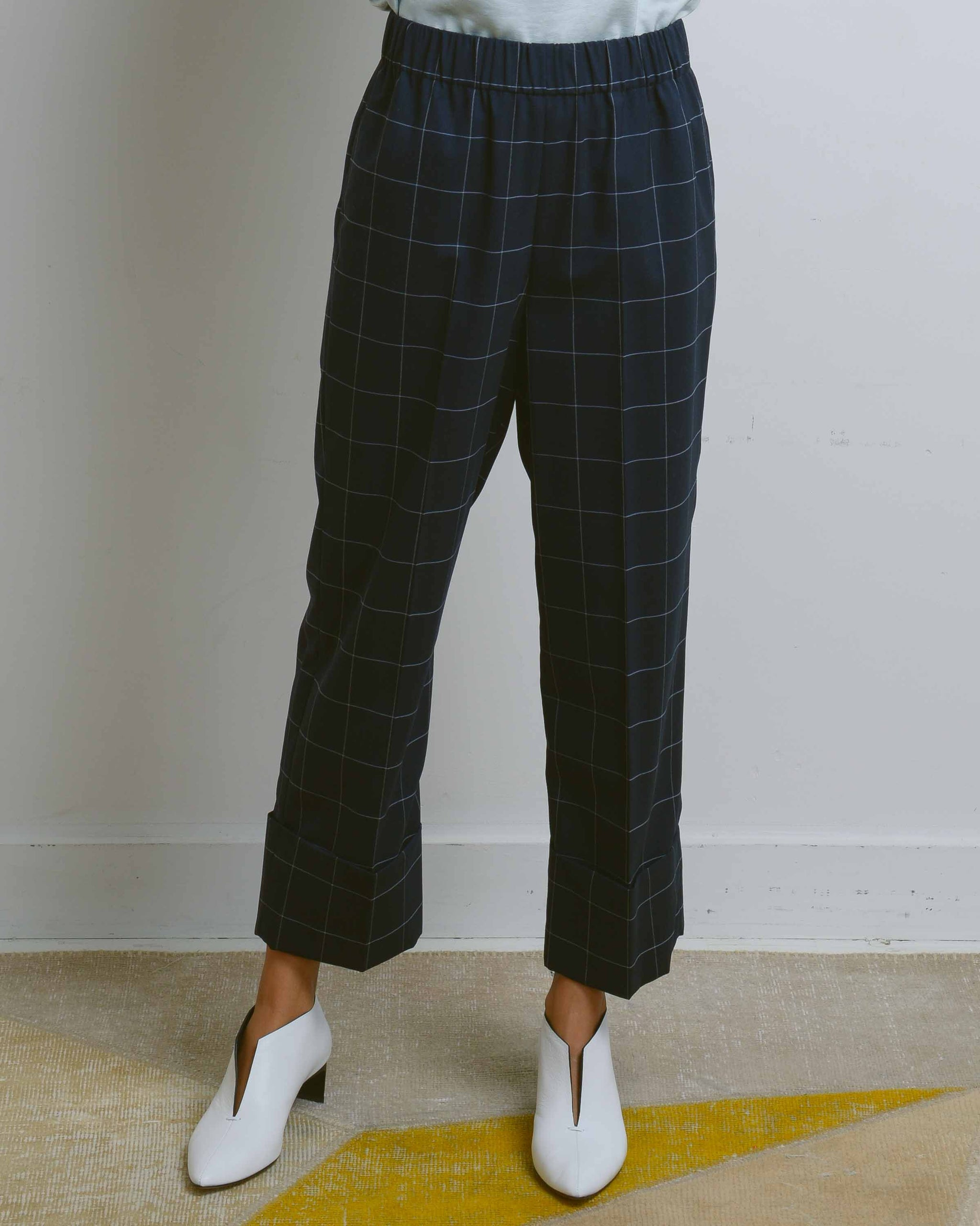 Navy Check Em Pull On Pant