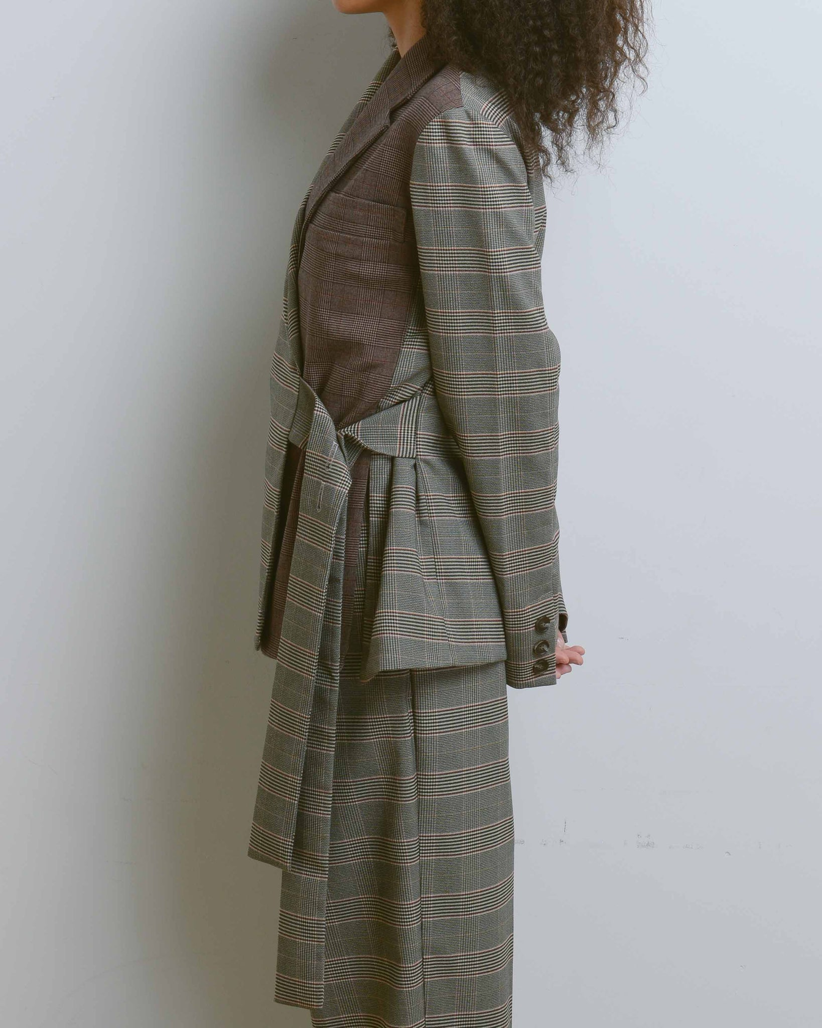 Brown Plaid Color Block Oversized Jacket